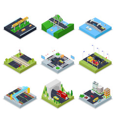 isometric urban infrastructure with roads vector image vector image