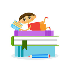 Little boy lying on stack of books reading cute vector