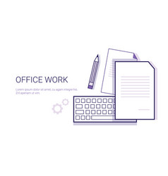 office work business concept web banner with copy vector image vector image