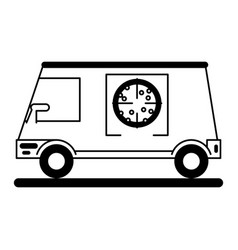 Pizza delivery truck icon image vector