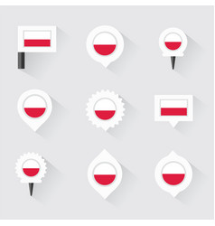 Poland flag and pins for infographic and map vector