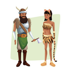 poster with couple viking man and tigress woman vector image