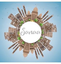 Sanaa yemen skyline with brown buildings vector