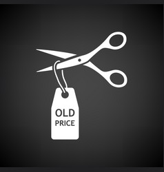 Scissors cut old price tag icon vector