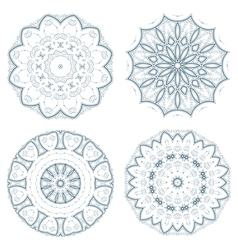 Set of blue guilloche rosettes vector image