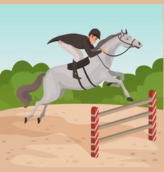 Smiling man jockey on gray horse jumping over vector