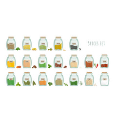 Spices in jars big set collection flat vector