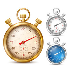 stopwatch in shiny metal case vector image