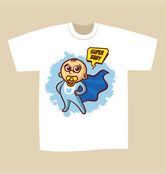 T-shirt print design superhero baby boy vector