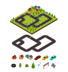 track racing and element set isometric view vector image