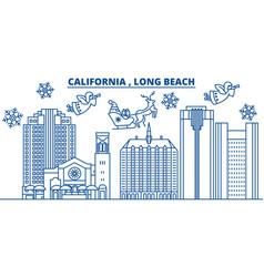 usa california long beach winter city skyline vector image