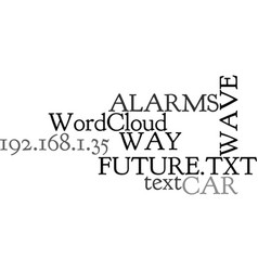 Way car alarms wave of the future text word cloud vector