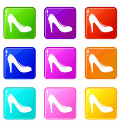 Women shoe with heels icons 9 set vector
