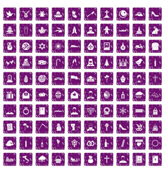 100 church icons set grunge purple vector