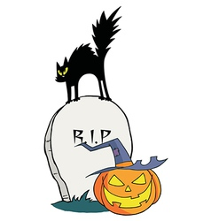Black Cat And Jack O Lantern On A Tombstone vector image