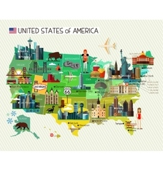 Usa travel map vector