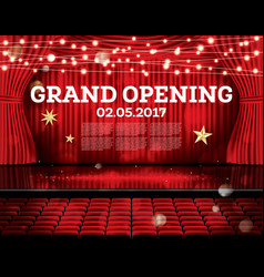 Grand opening open red curtains with neon lights vector