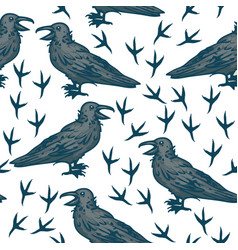 seamless pattern with black crows vector image