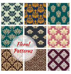 Patterns set of floral seamless ornament vector