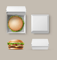 Set of realistic container fwith hamburger vector