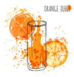 Orange juice splash hand draw watercolor vector