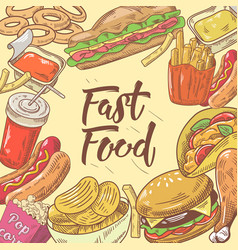 Fast food hand drawn design with burger hot dog vector