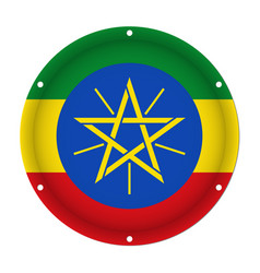 Round metallic flag of ethiopia with screw holes vector