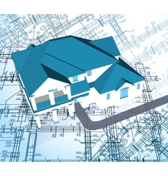 Architectural house technical draw vector