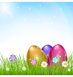 Multicolored eggs in grass with flowers vector