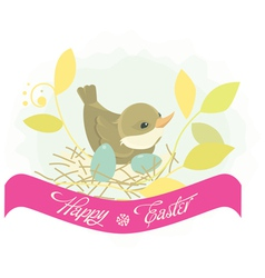 Easter background bird in nest vector