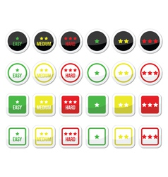 Easy medium hard level with stars icons set vector