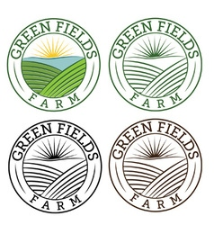 set of emblems green fields farm vector image