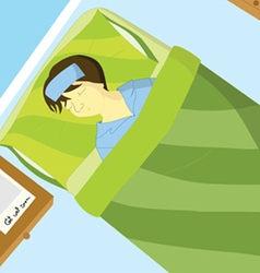 Sick boy sleep on the bed vector