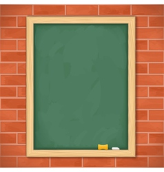 Blackboard on brick wall vector