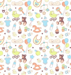 Baby shower seamless pattern texture for baby girl vector