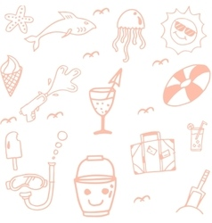 Icon Set summer beach doodle vector image