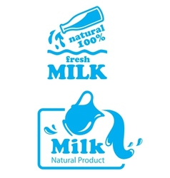 Atural milk labels or badges vector