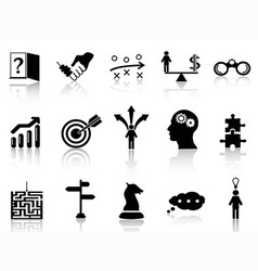 Business strategy icons set vector