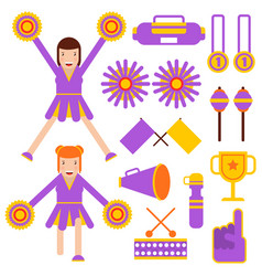 Cheerleading elements and cheerleader girls vector