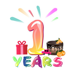congratulation with 1 year with balloons vector image vector image