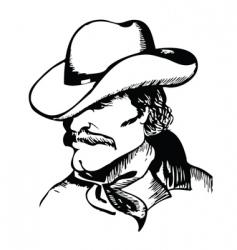 cowboy portrait vector image vector image