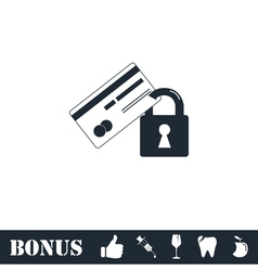 Credit card security icon flat vector