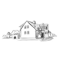 doodle farm vector image