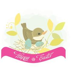 Easter background bird in nest vector image vector image
