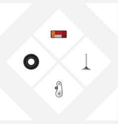Flat auto set of wheel car segment cambelt and vector
