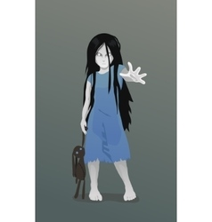 Ghost girl with toy vector image