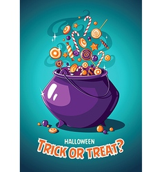 Halloween vintage poster trick or treat magic vector