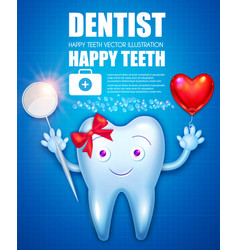 Helthy teeth with bow red glossu heart balloon vector