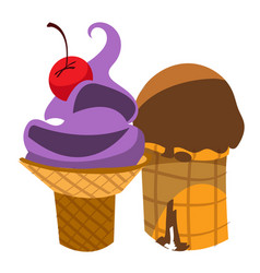 Ice cream waffle cup desserts and sweets color vector