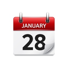 January 28 flat daily calendar icon date vector